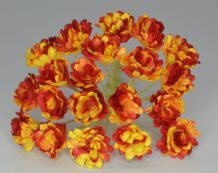 DARK RED YELLOW GYPSOPHILA / FORGET ME NOT Mulberry Paper Flowers